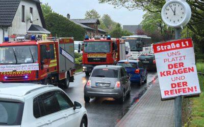 Protest gegen den schlechten Zustand der L1 Medelby-Osterby